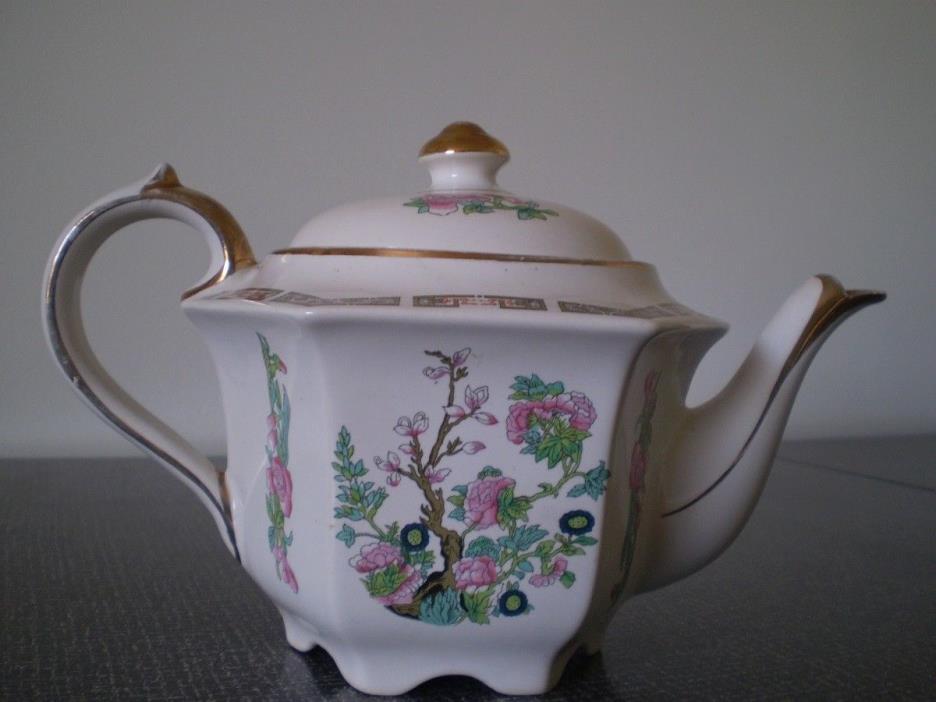 VINTAGE hand painted Oriental Teapot - hexagon shape, floral design, gold trim