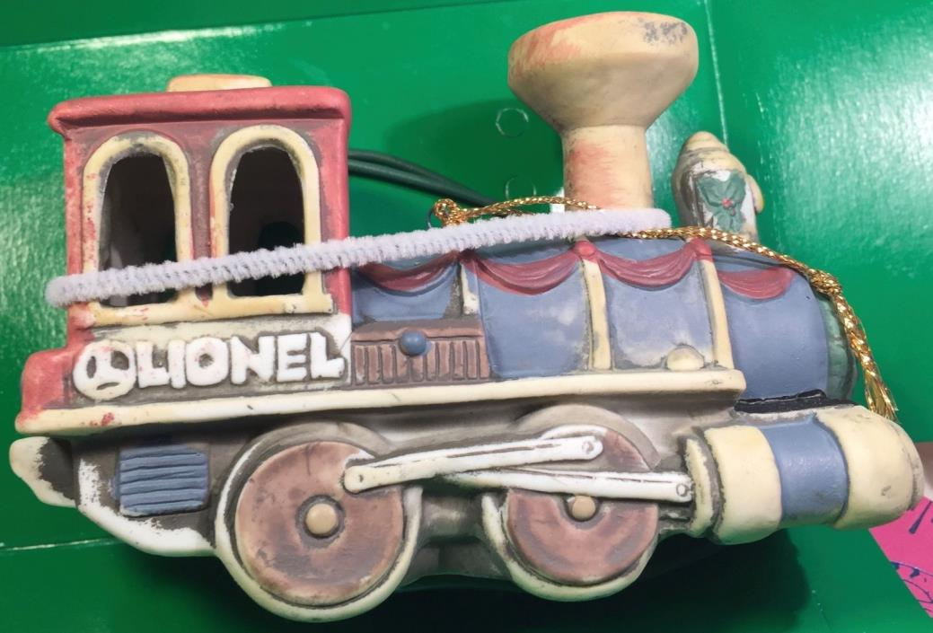 LIONEL PORCELAIN 1ST EDITION COLLECTOR'S LIGHTED LOCOMOTIVE CHRISTMAS ORNAMENT