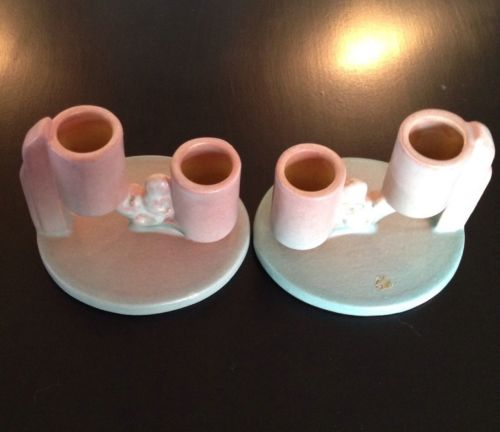 Roseville Ixia Pink Double Candle Holders