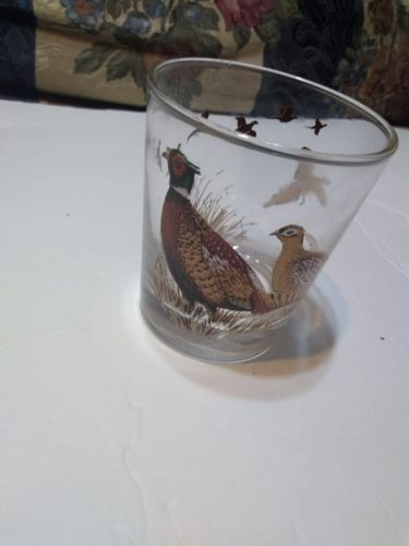 Vintage North Dakota Pheasant Drink Glasses Tumblers