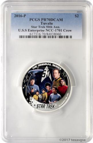 2016-P $2 Tuvalu Star Trek Enterprise Crew .999 Silver Proof Coin PCGS PR70DCAM