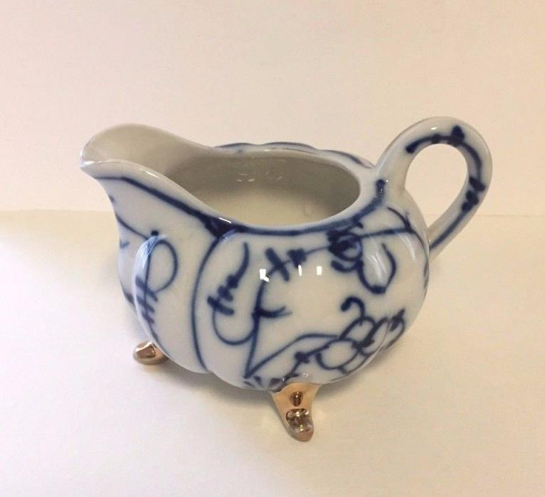 Antique Japanese Footed Creamer Blue & White