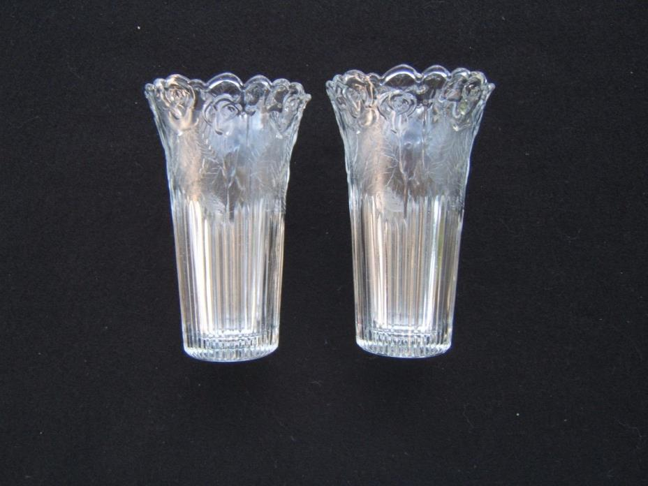 Borgonovo Crystal Vase from Italy, Rose Pattern, Scalloped Edge, Marked SET OF 2