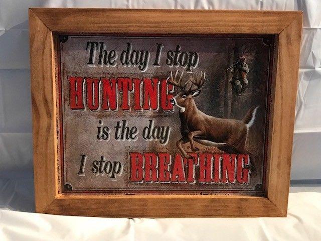 Hunting Whitetail Deer Vintage Framed Tin Sign