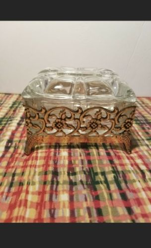 Victorian Clear Glass Box Surrounded in gold metal
