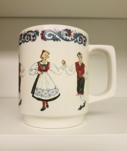 Figgjo Flint Hardanger Dancers Mug Bergquist Imports Cloquet Made in Norway