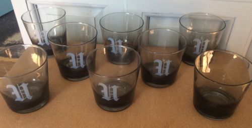 Vintage Smoked Glass Monogrammed H Old Fashioned Glasses Set Of 7 Plus 1 Blank