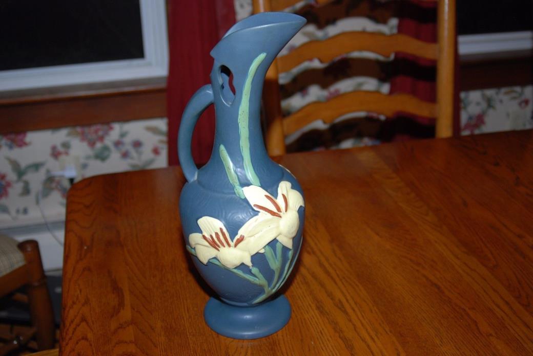 Roseville Pottery Blue Lily Ewer Pitcher 24-15