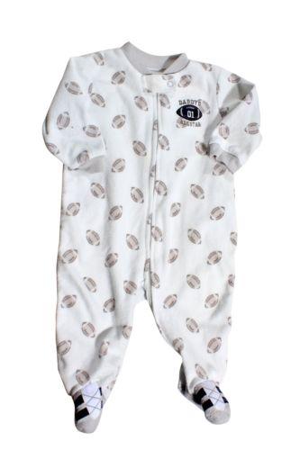 Carter's Infant White/Gray Print Fleece Sleeper Size 6mo