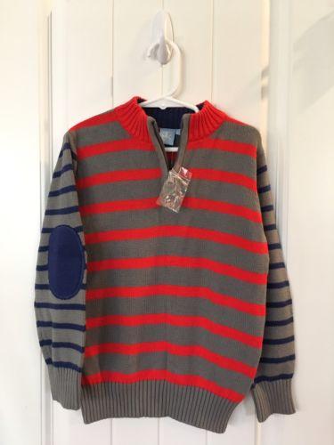 New J Khaki Zipper Sweater Boy's Size 4 Red Blue Stripe