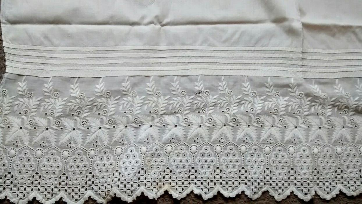 Antique White Embroidered Eyelet Cotton Flounce Lace Trim Salvage Petticoat