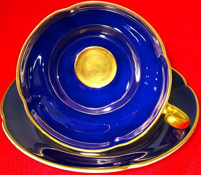OLD ROYAL Fancy Navy Blue & Rich Heavy 22k Gold Cup & Saucer, 1940s