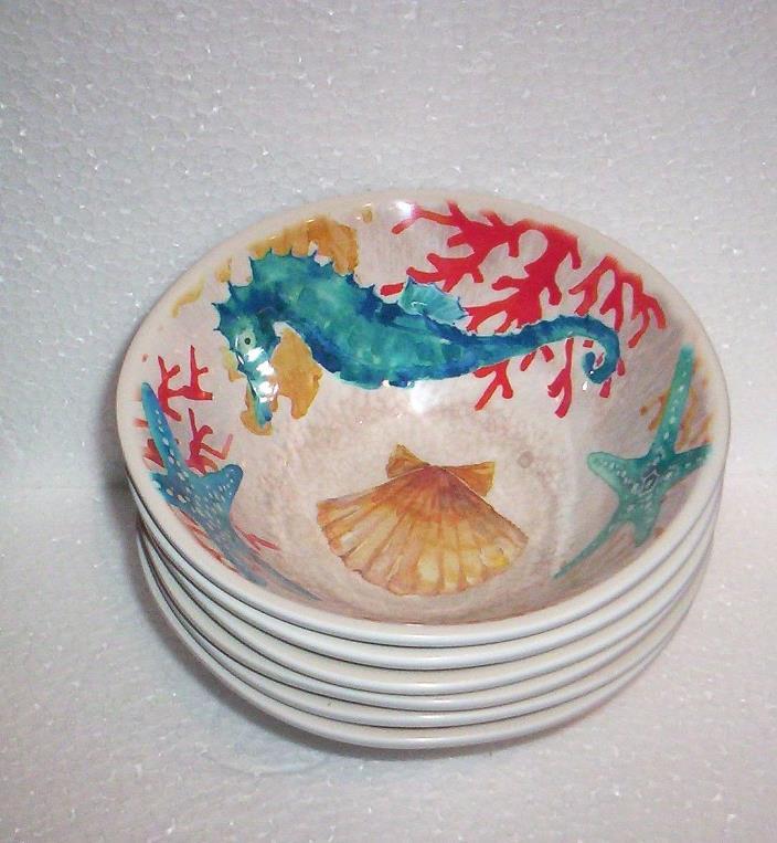 6 Coastal Collection Sea Life  MELAMINE Salad Bowls NWT Indoor/Outdoor
