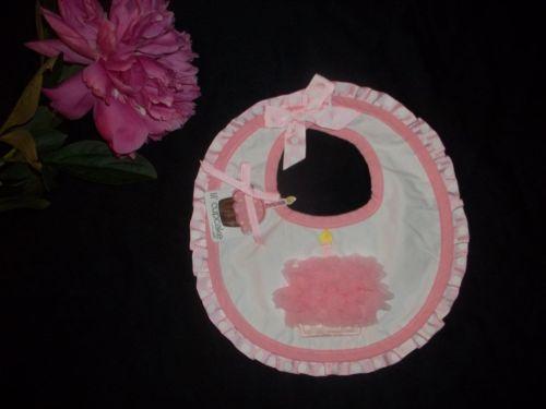 NWT Mud Pie Girls Pink Party Time First 1st Birthday Chiffon Cupcake Candle Bib