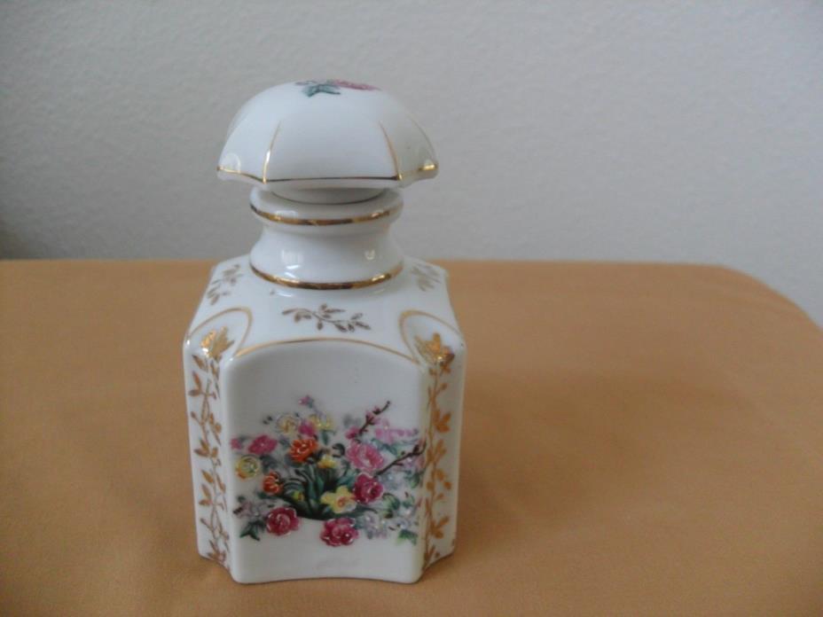 Vintage Tea Caddy/Jar Hand Painted Moriage Slip Paint Flowers Octagonal Shape