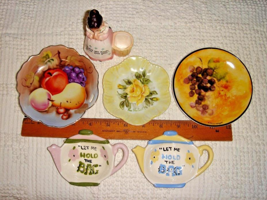 VTG PRAYER LADY T-PIK HOLDER TEA BAG COZY HOLDER TREAT PLATE GIFT BASKET LOT 8pc