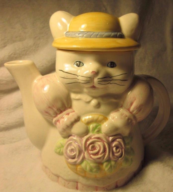 Vintage Porcelain Cat AND Rose Flower Basket Teapot