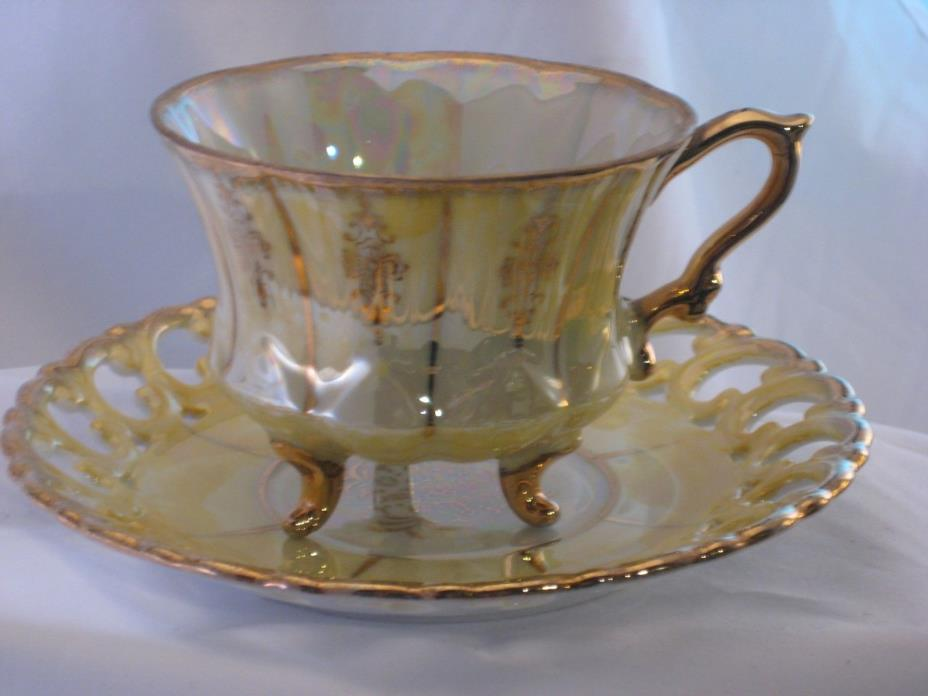 Antique Royal Sealy China Lustreware Footed Demitasse Teacup & Saucer Set