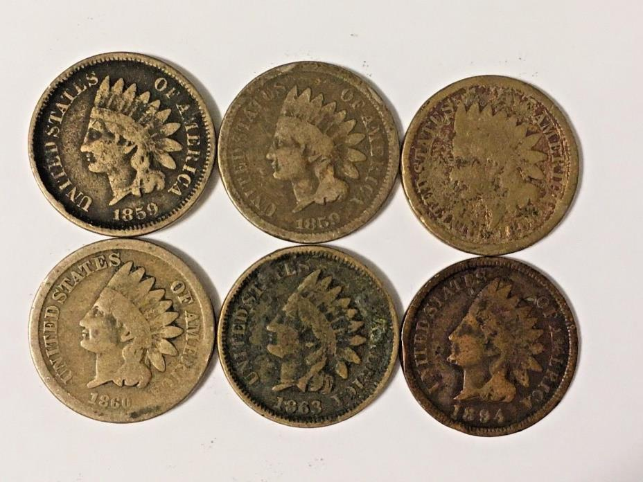 Indian head cent collection including key dates! 6 coins one price free shipping