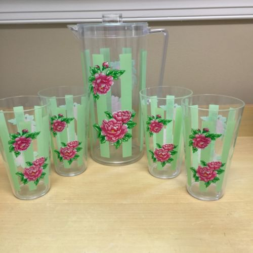 Vintage Pitcher And Four Cups Plastic Roses