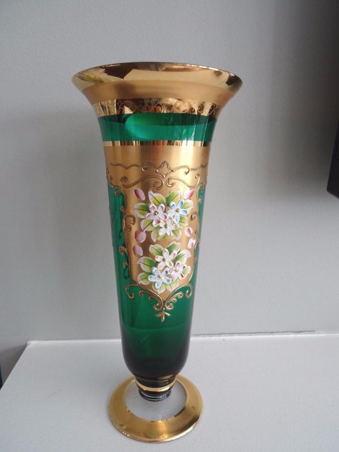 Egermann Bohemian Glass GREEN Heavy Gold Enameled Flower Footed VASE 9