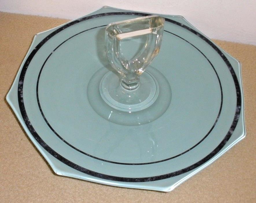 Vintage Reverse Painted Green Glass Cake Plate w/ Handle and Black Trim - Czech?