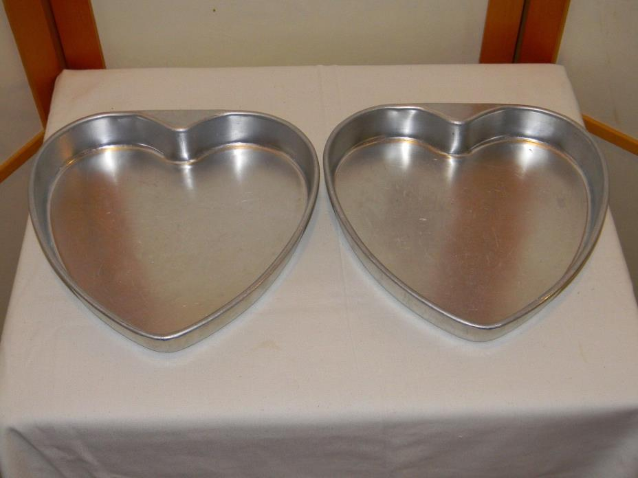 Vintage Pair of Aluminum Heart Shaped Cake Pans 9 inch