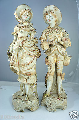 PAIR Antique Porcelain Victorian Lady & Man Figurine Statue 16'' Tall
