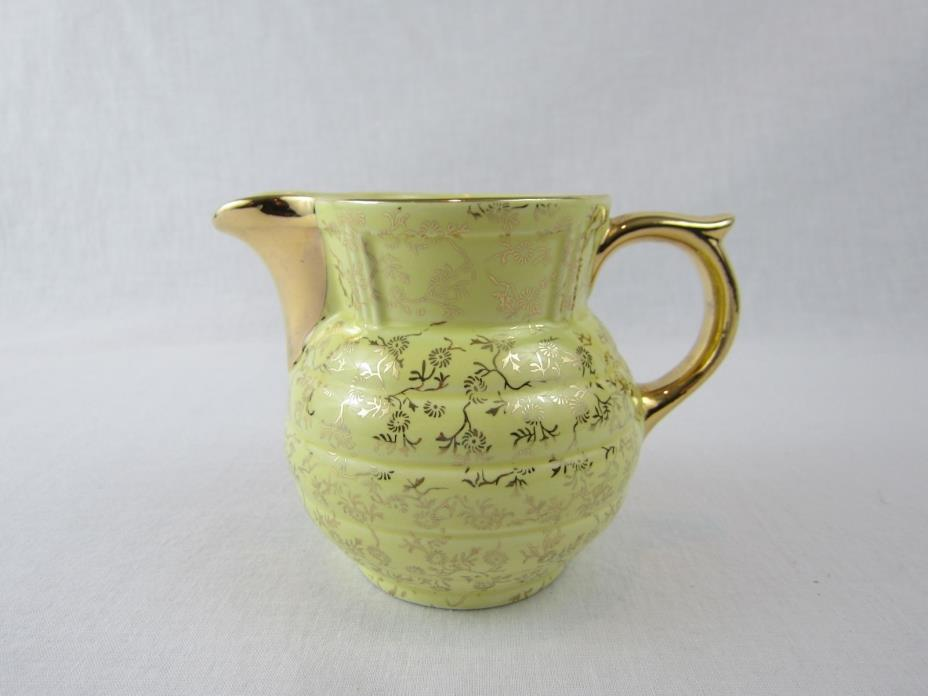 Vintage Guaranteed 22 K Gold USA Creamer Yellow Ceramic Floral 12oz