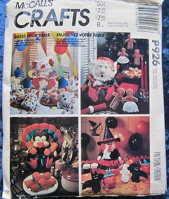 Uncut Vintage 1987 Dress Your Table With Seasonal Dolls McCall's Craft Pattern