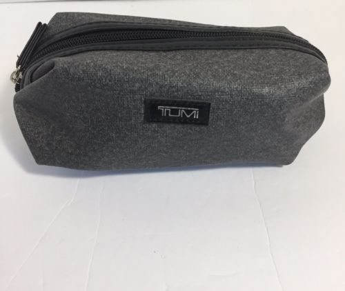 TUMI Cosmetic Traveling Pouch For Delta Gray Black Zipper Closure