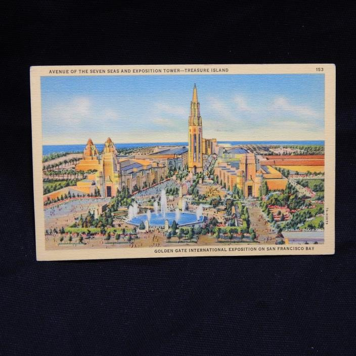 GOLDEN GATE INTERNATIONAL EXPOSITION ON SAN FRANCISCO BAY LINEN POSTCARD (25A)