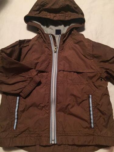 Baby Gap Boys Windbreaker Jacket Lined Size 18-24 Months Hooded Brown