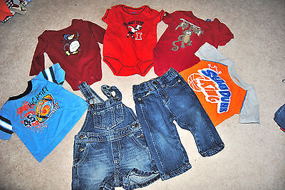 LOT OF 7  INFANT BOYS SIZE 12 M ONE SHIRTS OVERALLS & JEANS