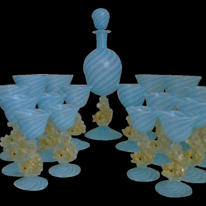 Murano Venetian Glass Decanter & 16 Glasses Wine Champagne Brandy Cordial Gold
