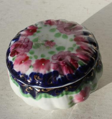 Trinket Box-Ring Holder-Salt Dip Ceramic-Porcelain Hand Painted w-Pink Flowers