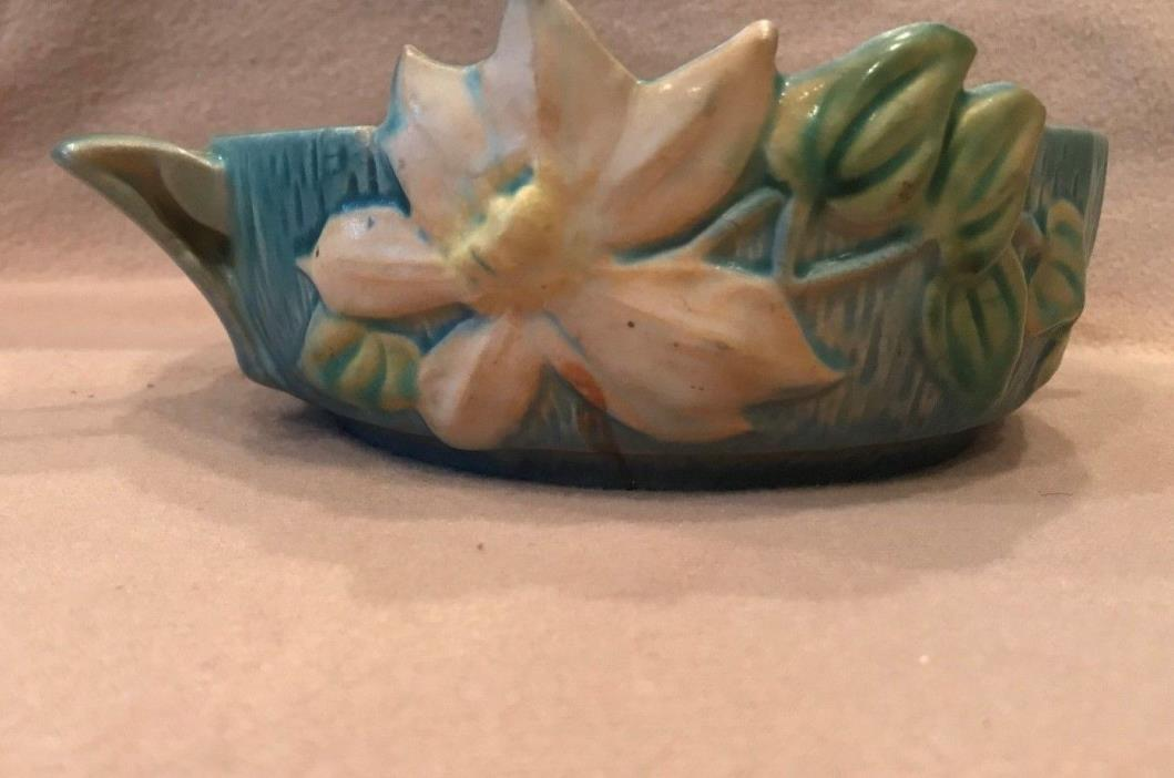 Vintage Roseville Clematis Two Handles Center Bowl Aqua Green #456-6