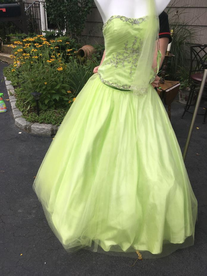 NWT beautiful Peridot Two Piece Dress Gown w Removable Skirt $548 tags XL green