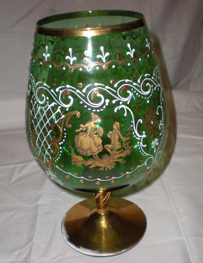 Vintage Bohemian Czech Hand Painted Green Gold Crystal Oversize Goblet Vase
