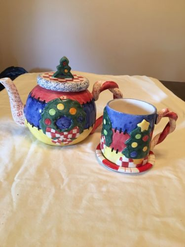 CHRISTMAS TEAPOT AND MUG WITH COASTER HAND CRAFTED EXCLUSIVELY FOR LOTUS