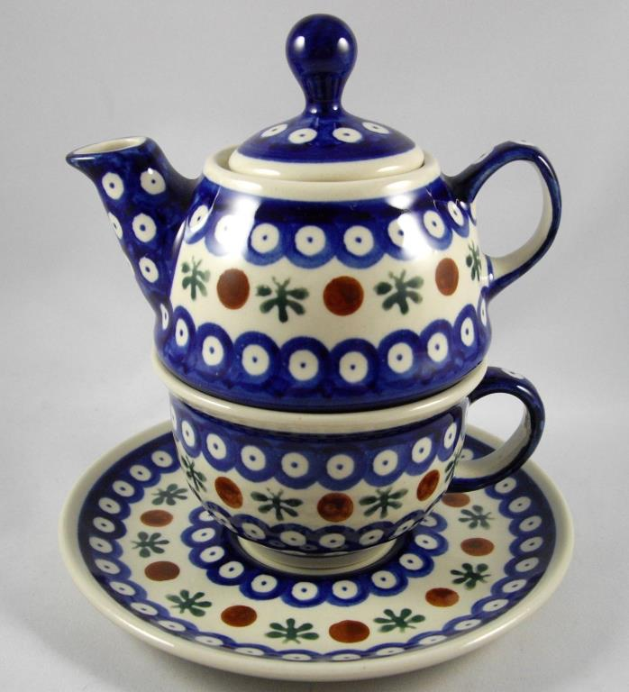 Boleslawiec Polish Pottery Nature Individual Teapot Cup Saucer Set Poland