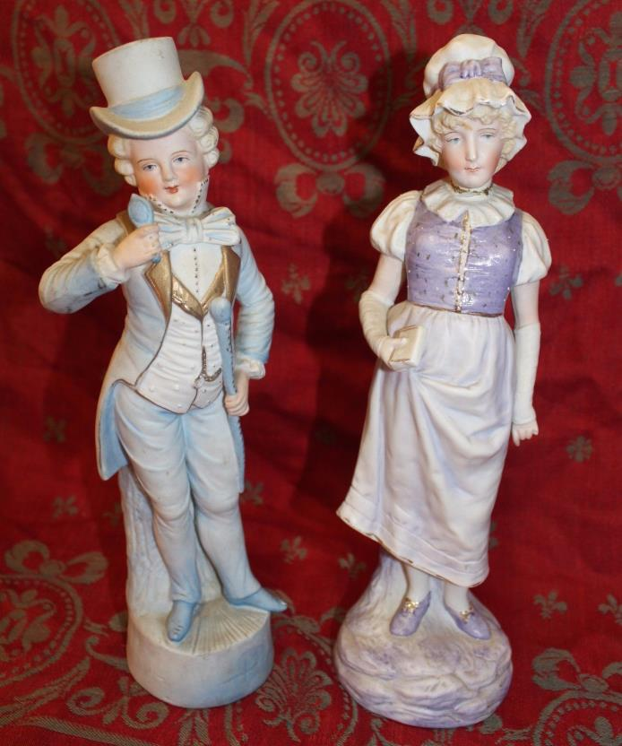 Pair of Antique French Style Bisque Figurines Statues Man & Woman