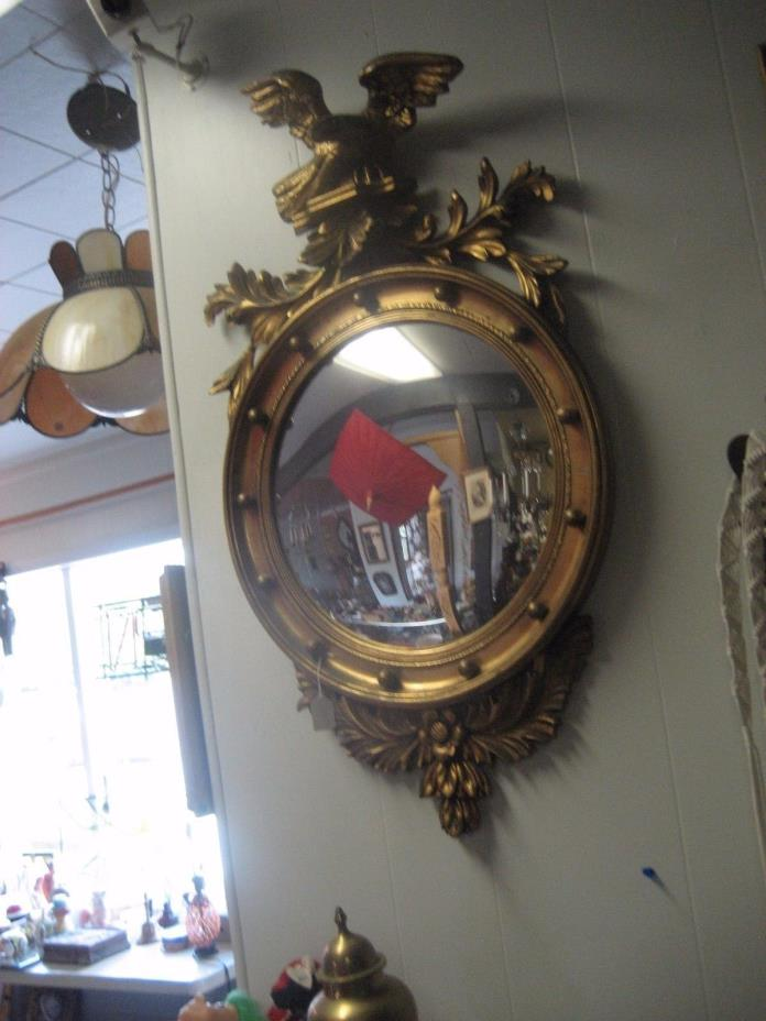 AMAZING RESTORED AMERICAN EAGLE GILDED GOLD CONCAVE MIRROR WALL HANGING