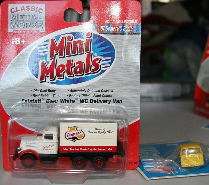 C.M.W. Mini Metals #30190 Falstaff Beer 1940s White 10 Wheel Delivery Van H.O.