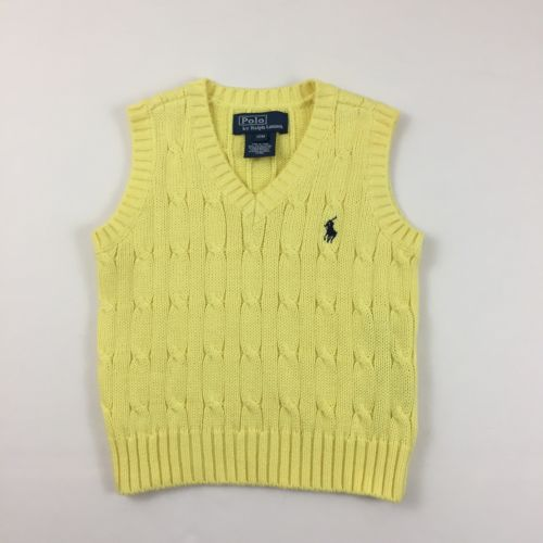 POLO RALPH LAUREN SWEATER VEST CABLE KNIT SIZE 12 M MONTHS YELLOW EUC