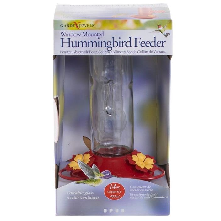 Garden Song Window Mounted Glass Hummingbird Feeder 14oz Capacity