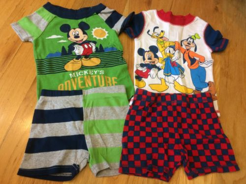 2 Disney Store Short Pajama Sets Size 3 Mickey Mouse Donald Goofy Toddler Boys