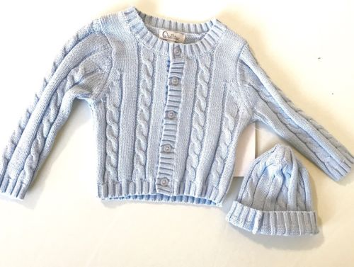 Quiltex Blue Cotton Cable Knit Sweater & Hat Set. NWT Retails $42 Price $29 6-9m