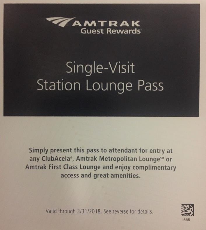 Amtrak Club Acela Station Lounge Pass - Valid through 3/31/2018