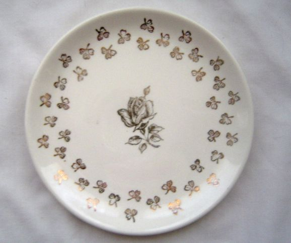 Vintage White and Gold Saucer Gold Rose and Shamrocks